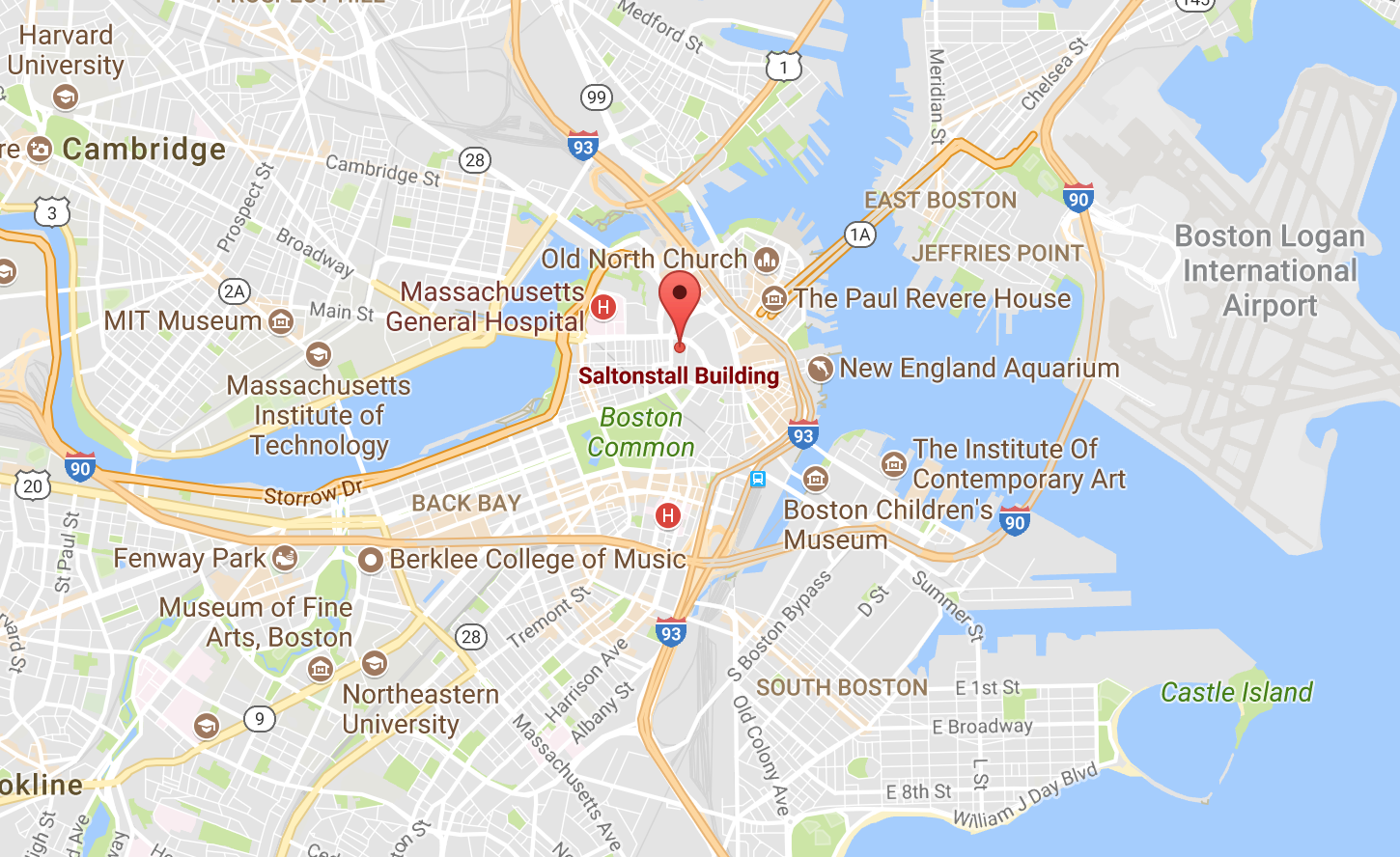 Map showing Sattler College's location in Boston, MA